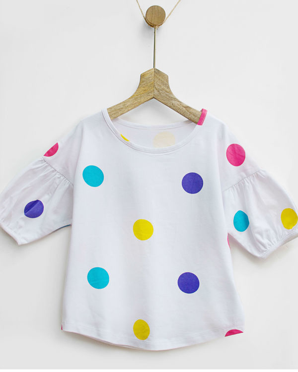 Rainbow polka tee with bubble sleeves 3