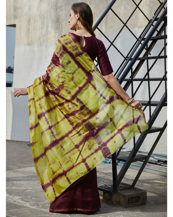 Plum and yellow chanderi  sari 2
