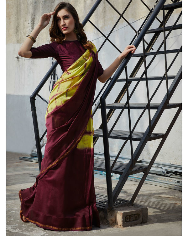 Plum and yellow chanderi  sari 1