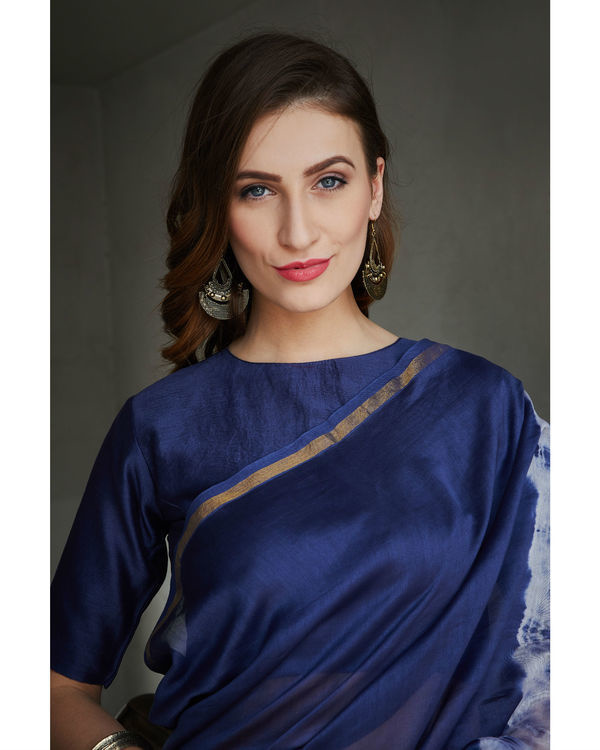 Persian blue and white chanderi  sari 3
