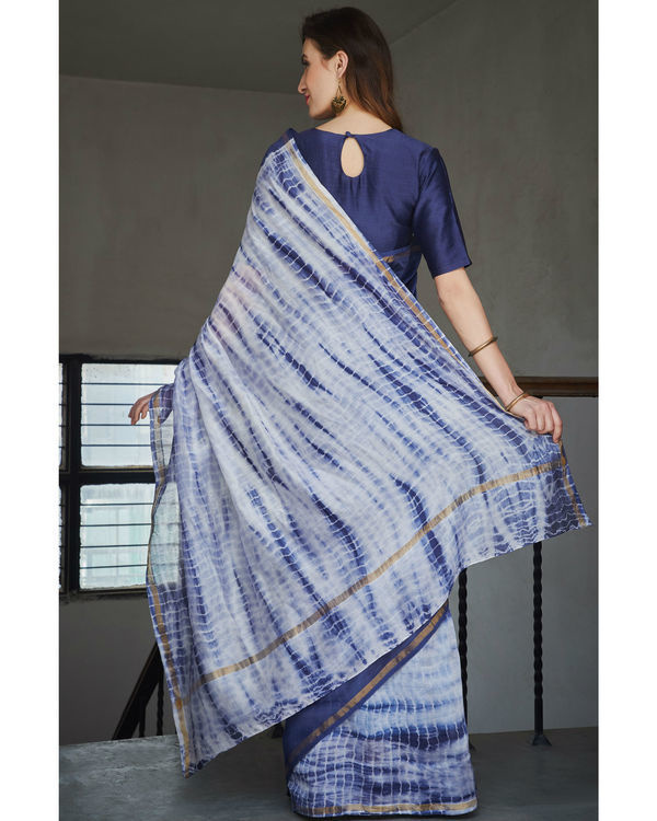 Persian blue and white chanderi  sari 1