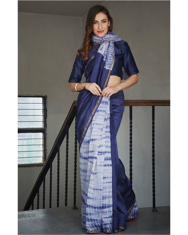 Persian blue and white chanderi  sari 1