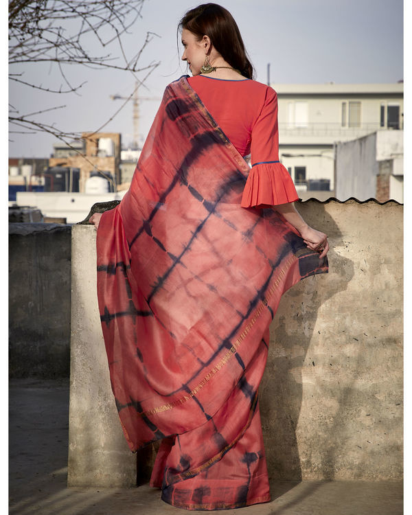 Peach and coral chanderi sari 2