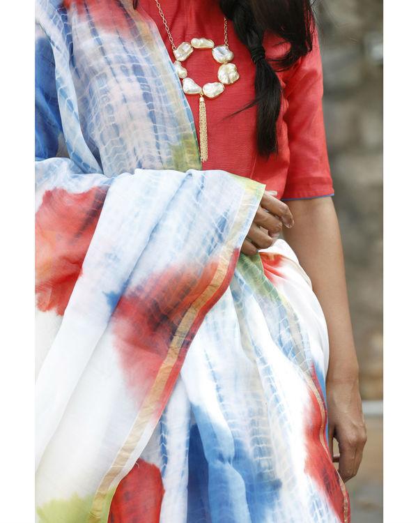 Multi shaded on white chanderi sari 3