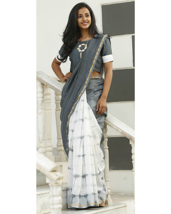 Dove and ash grey chanderi sari 3