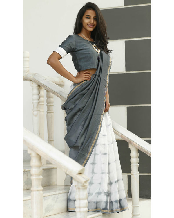 Dove and ash grey chanderi sari 2