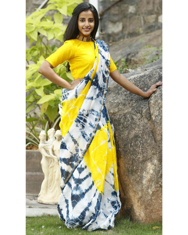 Yellow and prussian blue chanderi  sari 3