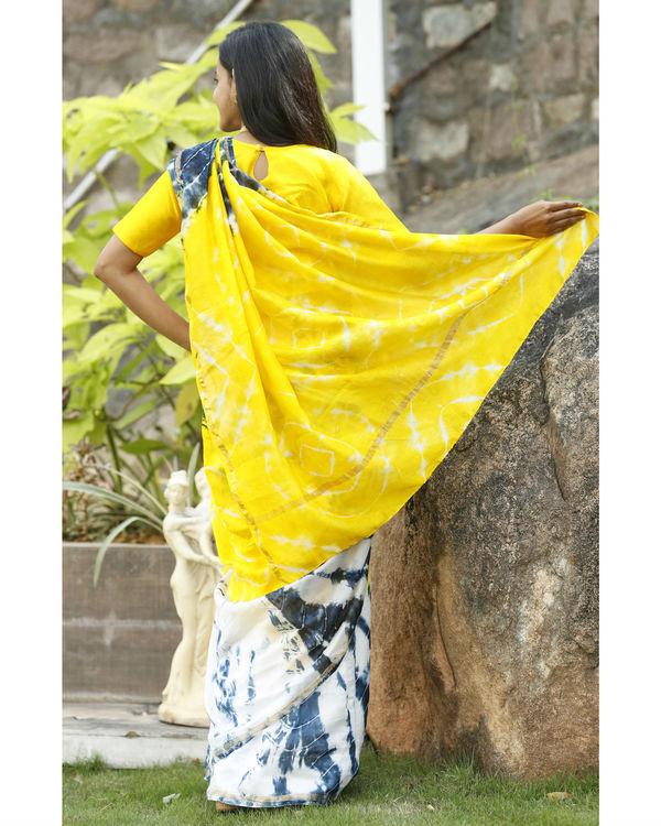Yellow and prussian blue chanderi  sari 2
