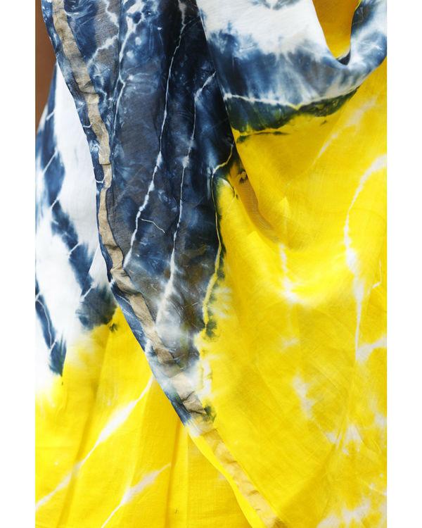 Yellow and prussian blue chanderi  sari 1
