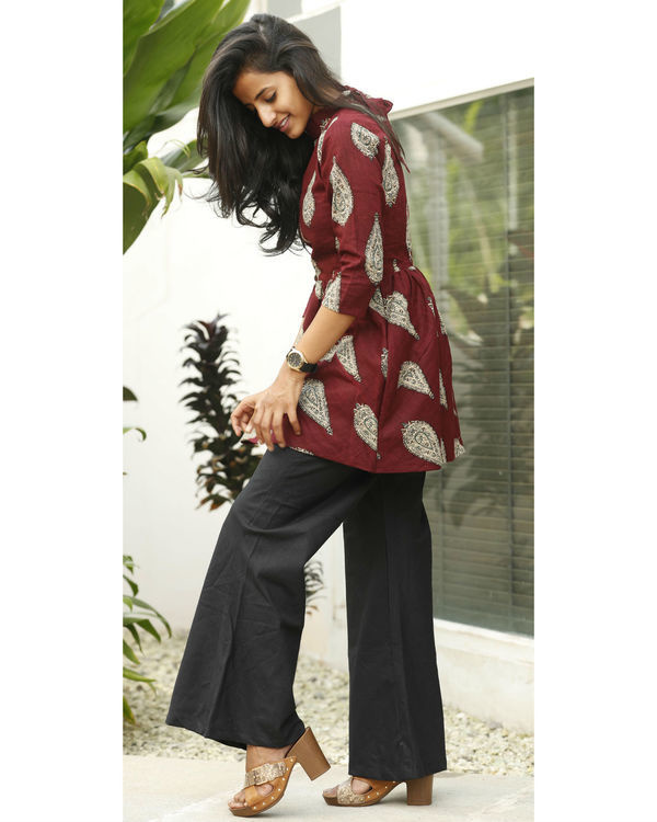 Maroon flared top with a-line palazzo 2