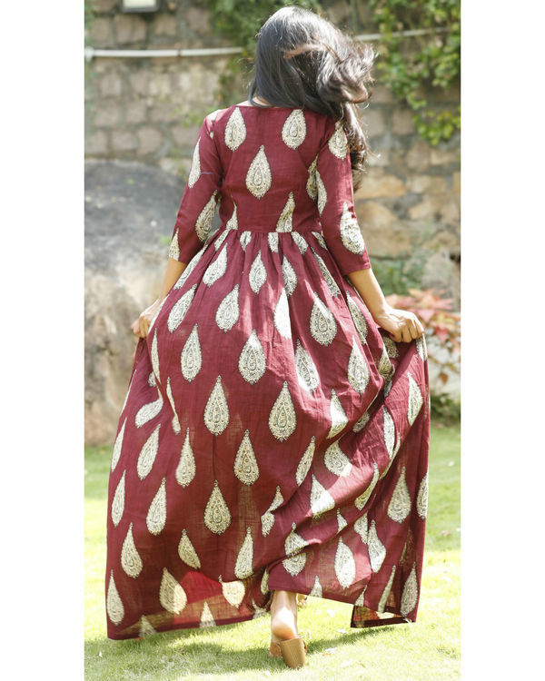 Maroon cotton flared cape 2