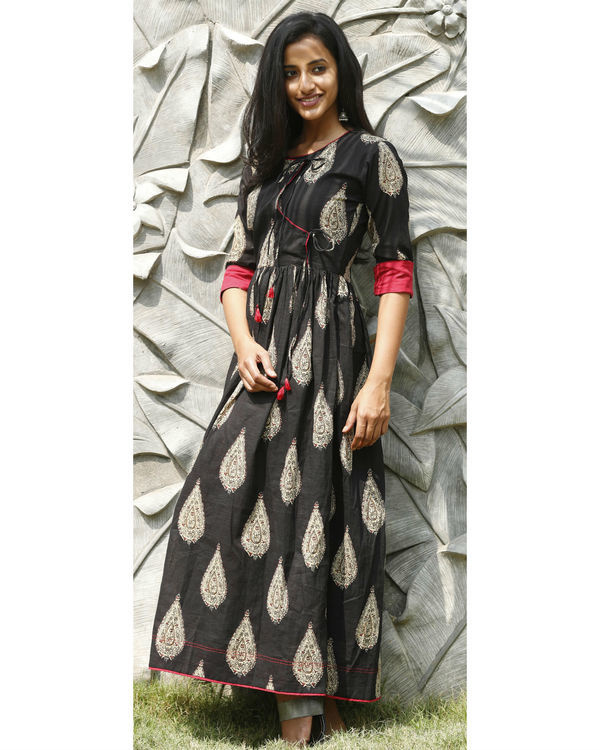 Black angrakha flared dress 4