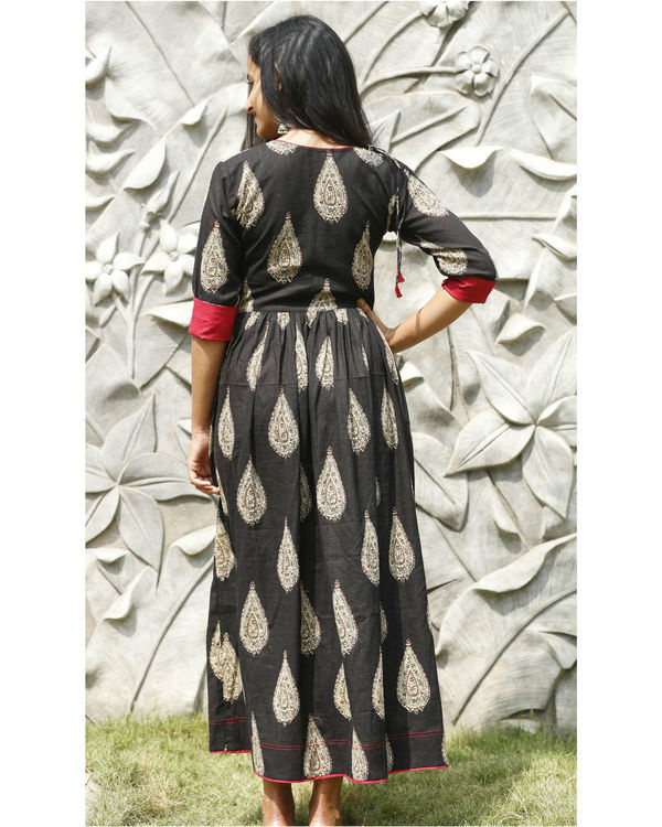 Black angrakha flared dress 3