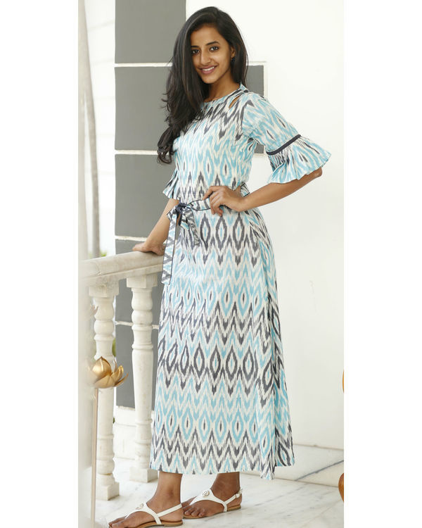 Arctic blue and ash grey ikat dress 2