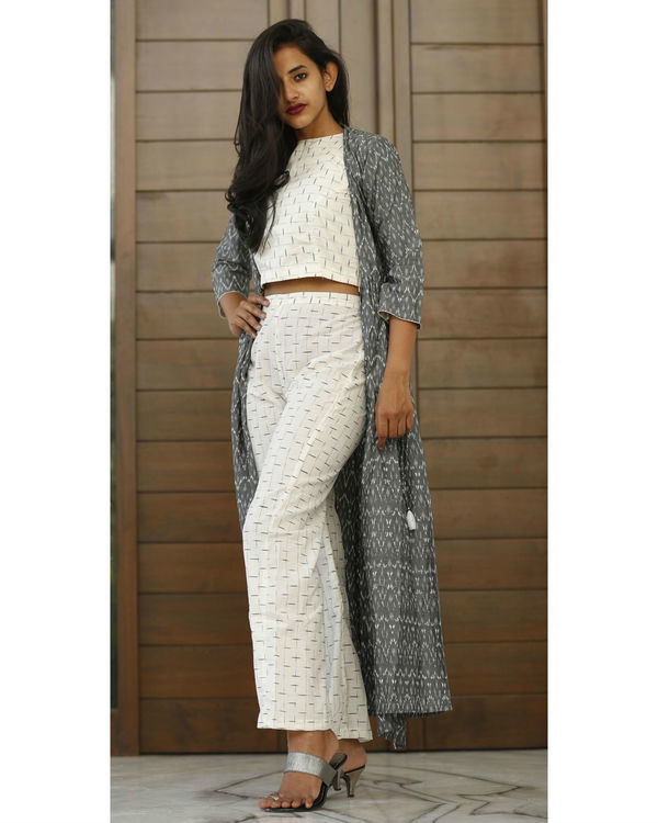 White ikat crop top with ash grey jacket 2