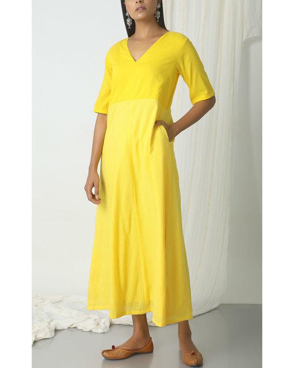 Yellow stripe kurta dress 3