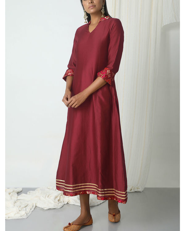 Maroon brocade gota kurta dress 3