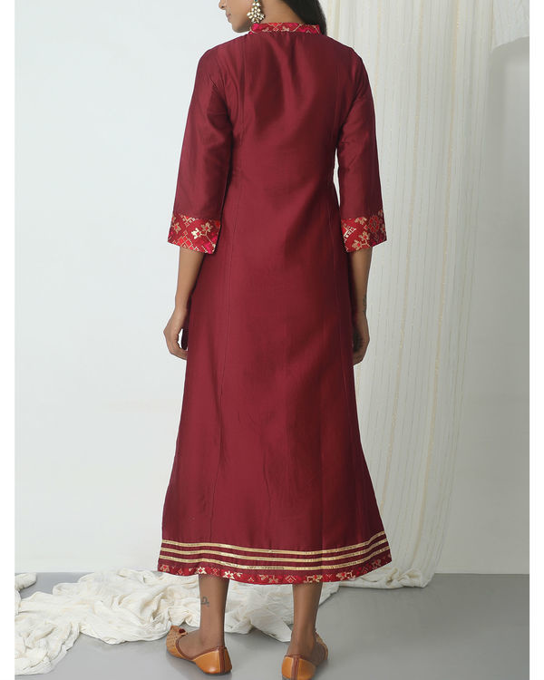 Maroon brocade gota kurta dress 2