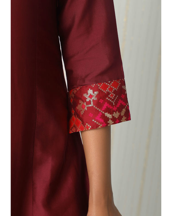 Maroon brocade gota kurta dress 1