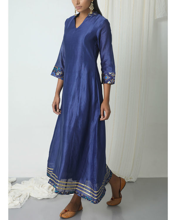 Blue brocade gota kurta dress 3
