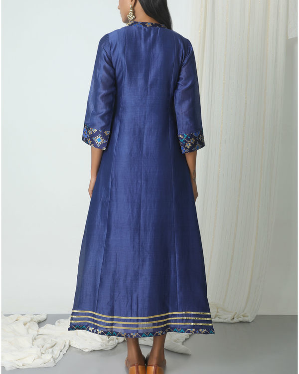 Blue brocade gota kurta dress 2