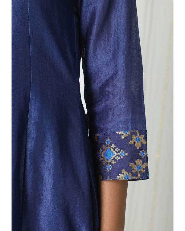 Blue brocade gota kurta dress 1