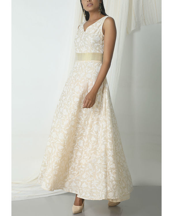 Beige floral print dress 3