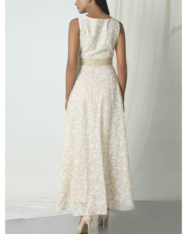 Beige floral print dress 2