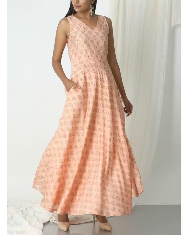 Peach floral print dress 3