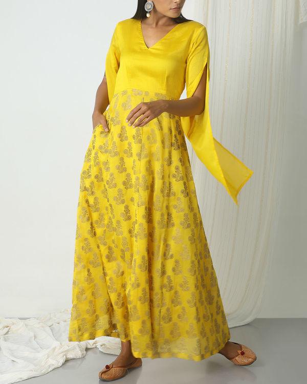 Yellow deep floral dress 4