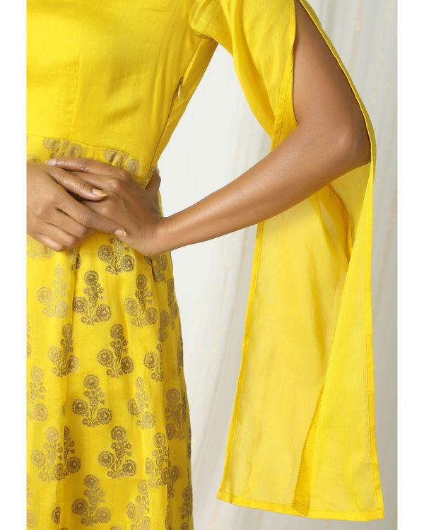 Yellow deep floral dress 1