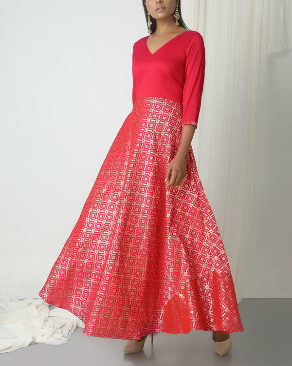 Pink grid brocade dress 3