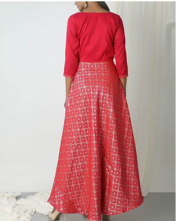 Pink grid brocade dress 2