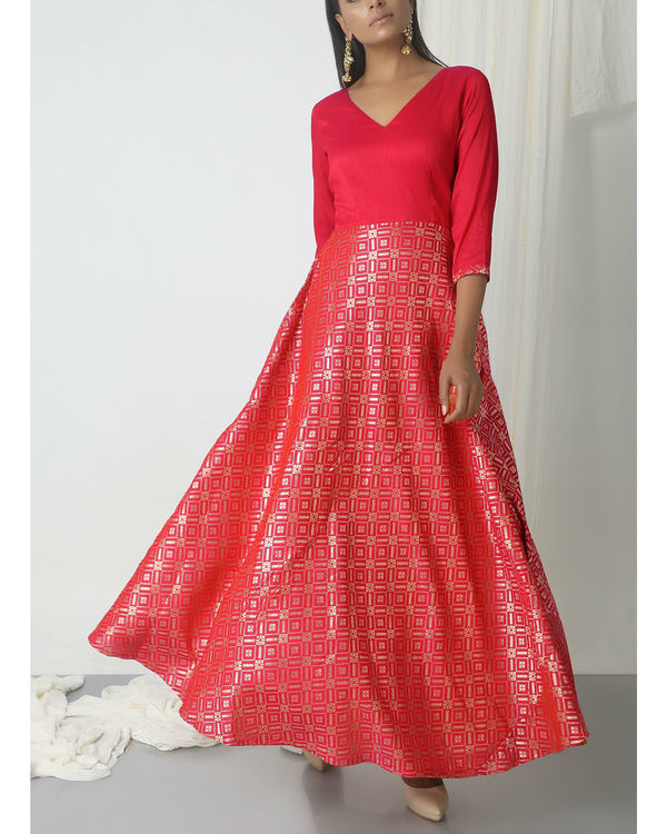 Pink grid brocade dress 1