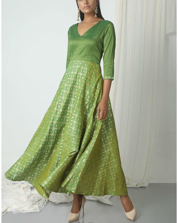 Green grid brocade dress 3