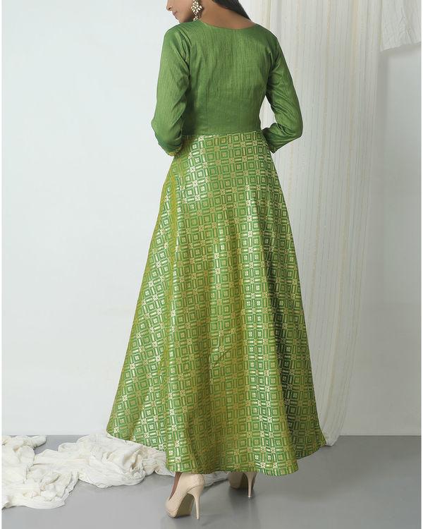 Green grid brocade dress 2