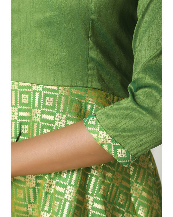 Green grid brocade dress 1