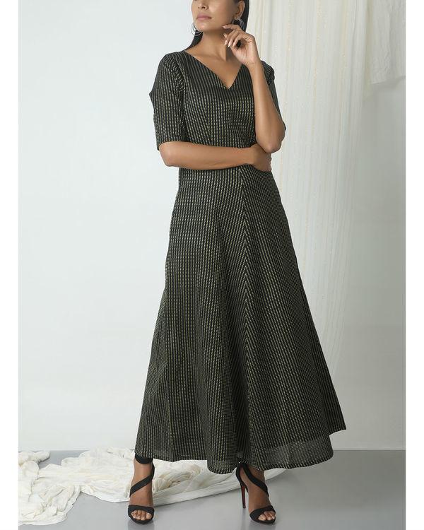 Black dots stripe dress 2
