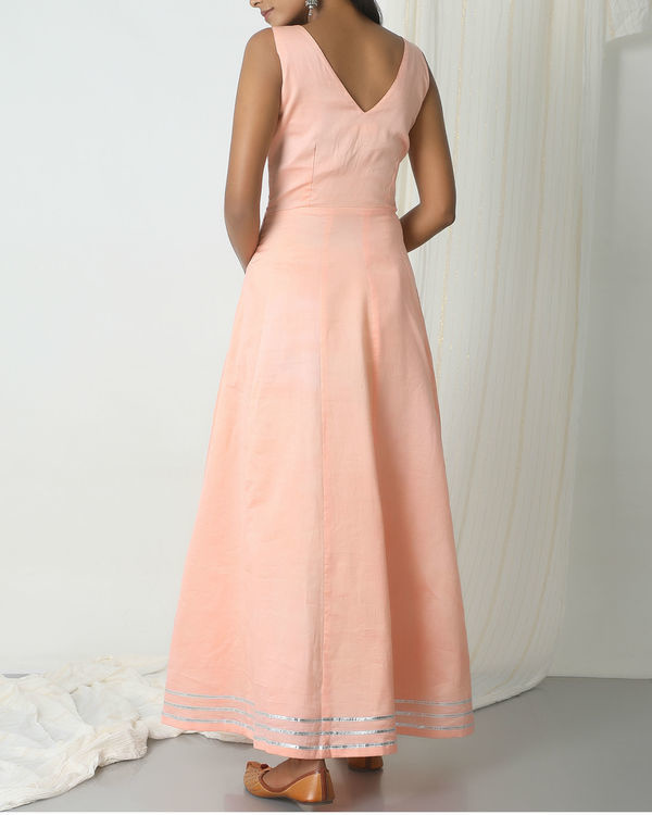 Peach green gota dress 1
