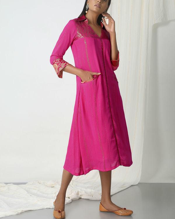 Pink brocade shirt dress 3