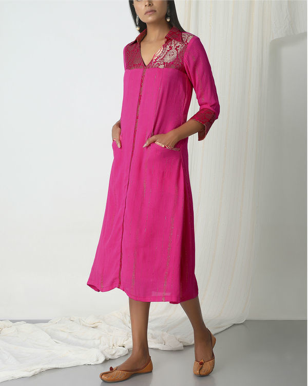 Pink brocade shirt dress 2