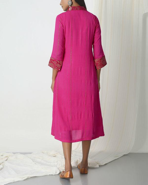 Pink brocade shirt dress 1