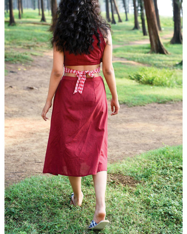Bhutan red karma dress 1