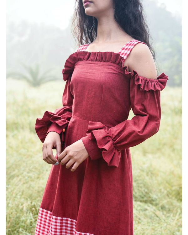 Bhutan red ruffle dress 3