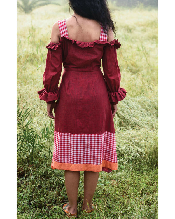 Bhutan red ruffle dress 1