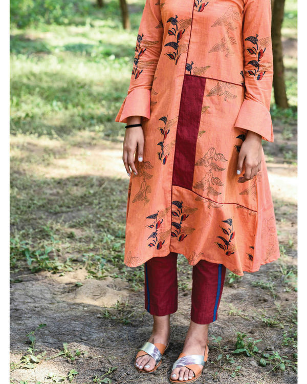 Pumpkin orange paro kurta set 2