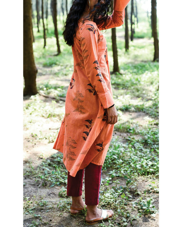 Pumpkin orange paro kurta set 1