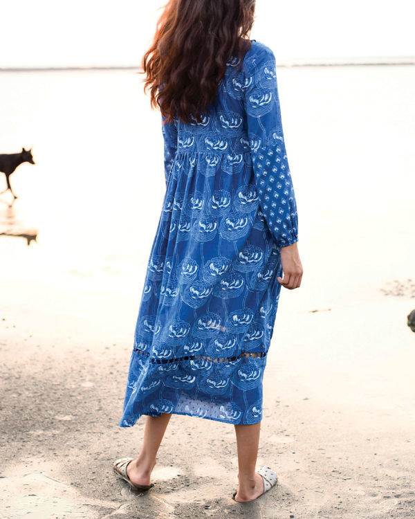 Zaffre blue peasant dress 1