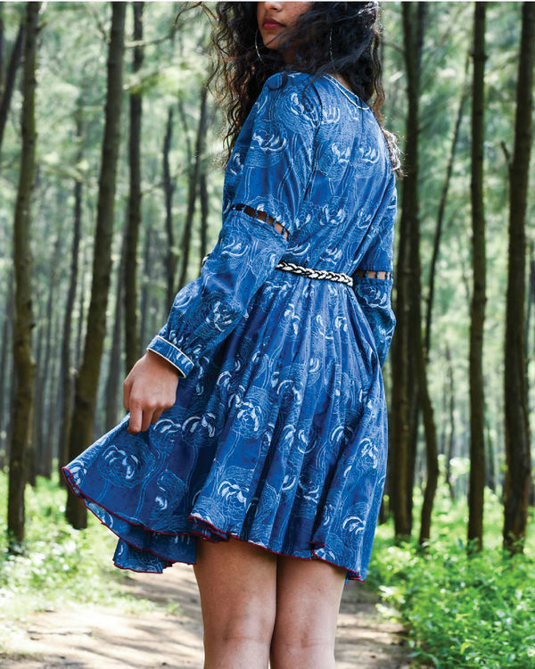 Zaffre blue flared dress 1