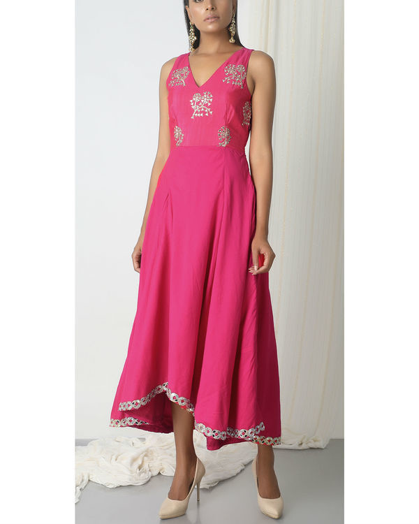 Pink asymmetric hem dress 3